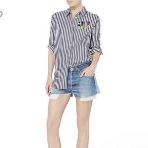 Equipment Medal Embroidered Striped Collard Shirt